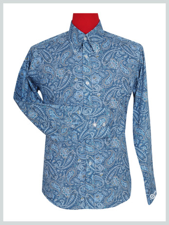 Paisley Shirt | Blue Multi Color Mens Paisley Pattern Shirt