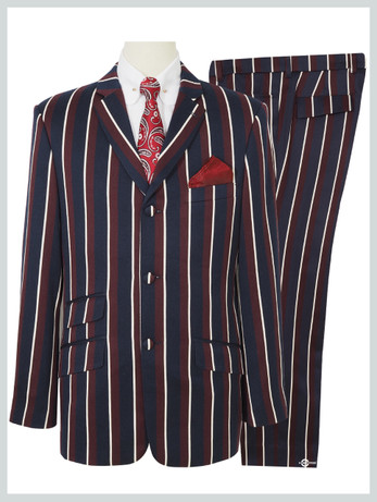 Mod Bold striped  Suit | 1960s Classic Navy Blue And Burgundy Stripe suit, Tailored