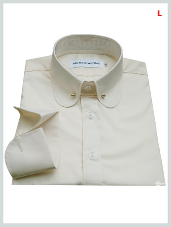 This Shirt Only. 60s Mod Long Sleeve Cream Colour Penny Colar Shirt