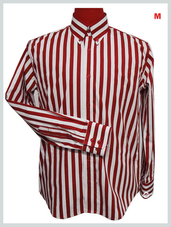 This Shirt Only. Button Down Shirt  Mens Slim Fit Red & White Stripe Button Down Shirt