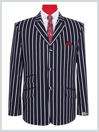 Only this jacket    Dark Navy Blue Striped Boating Jacket For Man