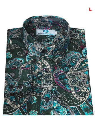 This Shirt Only. Paisley Shirt   Green Multi Color Shirt For Man