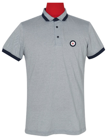 Polo Shirt Fabric Cool Plus Short Sleeve Colour Grey & Navy Blue Trojan Polo Shirt.