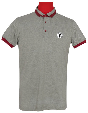 Polo Shirt Fabric Cool Plus Short Sleeve Colour Grey & Burgundy Northern Soul Polo Shirt.