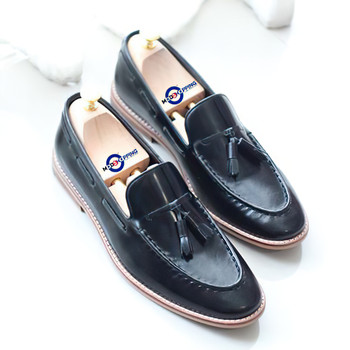 Leather Shoe Tassel Loafers Colour Black Shoe For Man