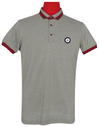 Polo Shirt Fabric Cool Plus Short Sleeve Colour  Grey Burgundy Trojan Polo Shirt.