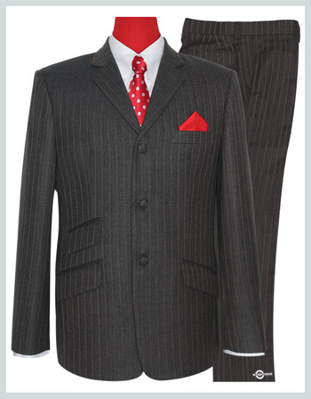 mod tweed suit | brown grey color herring bone suit for man