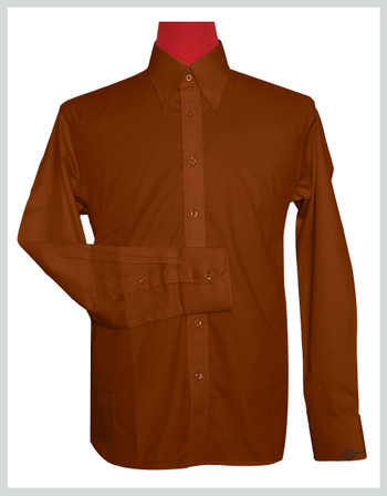 Button Down Collar Shirt  Maple syrup Color Shirt For Man