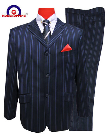 bold stripe 60s mod single breasted 3 button mod suit