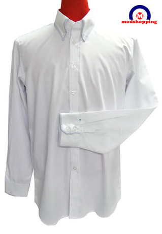 button down shirt| high collar sky trim button down shirt