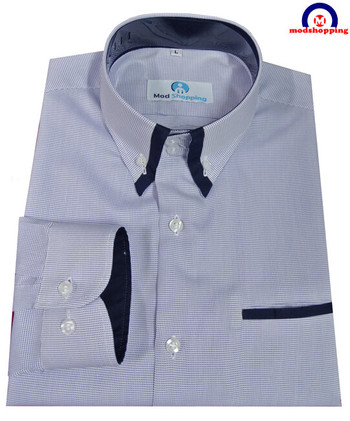 button down shirt| blue dot & navy blue mod shirt for men