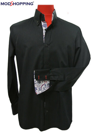 black and flowral button down shirt for men