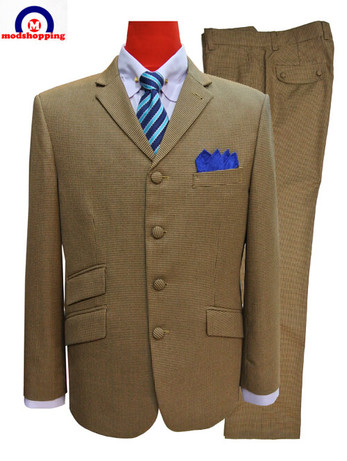 vintage suit|brown houndstooth slim fit suit mod fashion