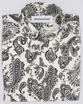 Off white paisley pattern long sleeve shirt|Shirt Size M / Neck 16""