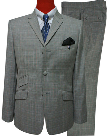 60s prince of wales suit|light grey mod fashion tailored check suit