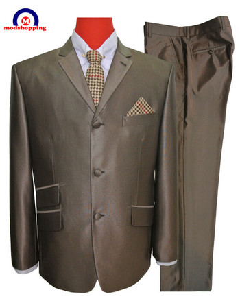 mod clothing tonic 60s mod suit for men,dark brown suit