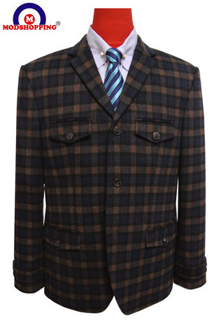 check tweed blazer| wool 60s mod brown blazer jacket for men