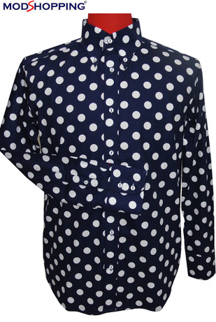polka dot shirt| slim fit large white dot navy blue colour shirt