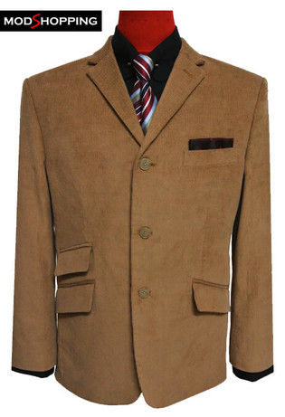 corduroy blazer jacket | mens 60s fashion 3 button camel corduroy blazer for men