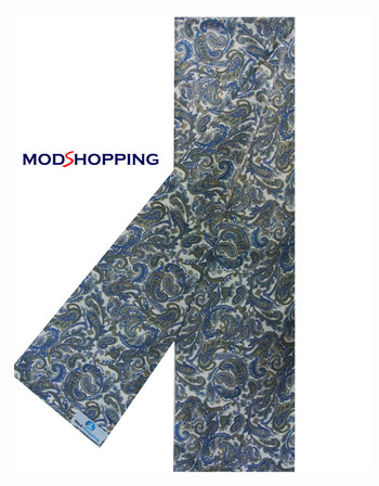 retro mod clothing blue big paisley retro scarf for men, 60s