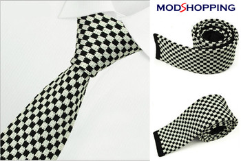 white & black knitted tie| retro mod style uk ties for men