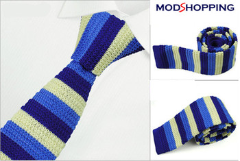 knitted tie| 60s mod retro blue & white knit tie for men