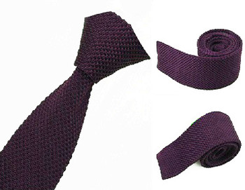 knitted tie  retro mod style purple neck tie for men