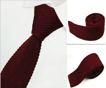knitted tie| 60s mod clothing burgundy knit tie for men