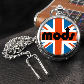 mods union jack pocket engraving watch, vintage style