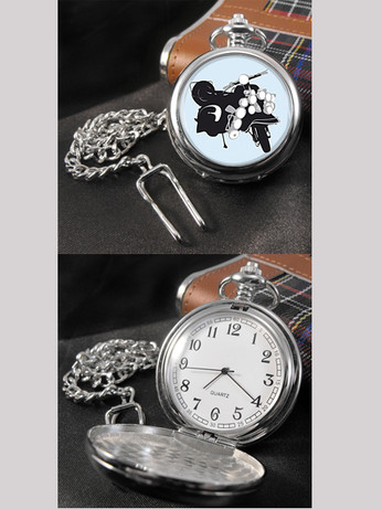 retro mod style scooter pocket engraving watch, 60s