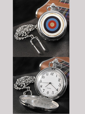 mod target full hunter pocket engraving watch for men, 1960s