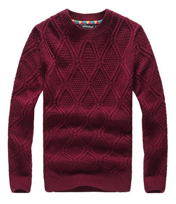 Burgundy Men's Crew-neck Pullover Knit Sweater