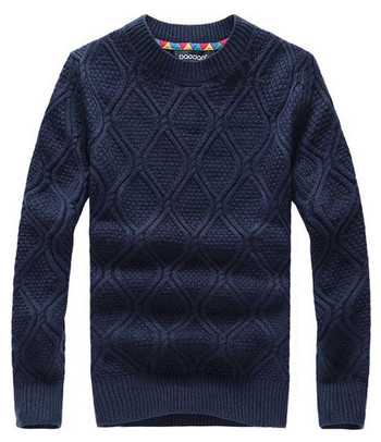 Navy Blue Men's Crew-Neck Pullover Knit Sweater