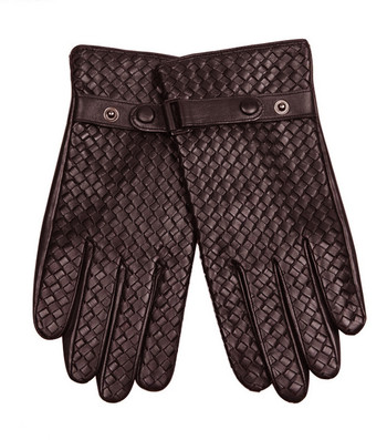 handgloves| vintage style sheepskin men winter warm coffee leather gloves