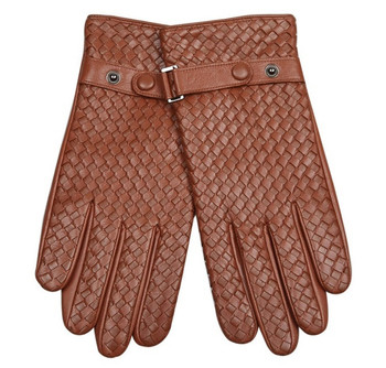 sheepskin men winter warm tan leather gloves for men, vintage style