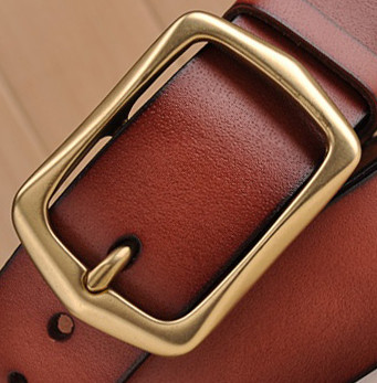jeans belt, copper buckle cowhide leather men's tan belt for men
