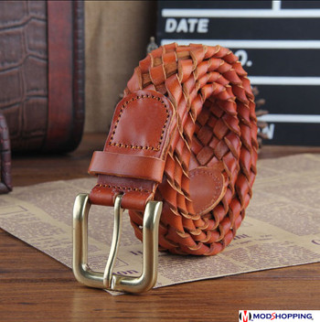 handmade basket pattern tan vintage leather belt for men