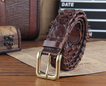 handmade basket pattern chocolate vintage leather belt for men