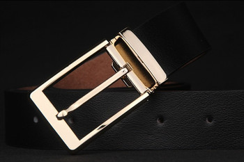 slim fit exclusive golden buckle black leather suit belts for men