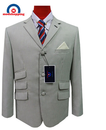 tweed blazer| houndstooth mod style 3 button grey blazer jacket for men