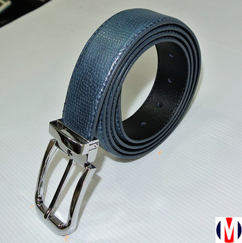 executive navy blue leather silver buckle suit belt for men