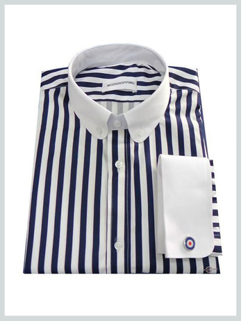 penny collar dark navy blue stripe shirt for men, tailored