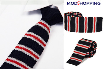 knitted tie| red white stripe in navy blue mens tie uk