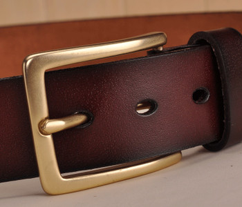 jeans belt, mens leather coffee belt, 60s mod style