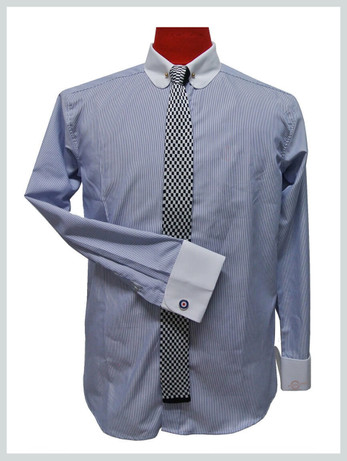penny pin collar shirt| mens long sleeve sky shirt