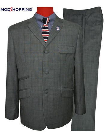 prince of wales grey suit|mod clothing men suit