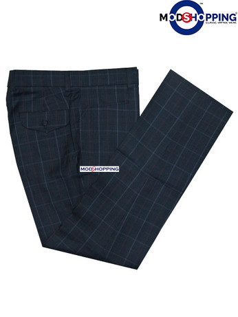 check trouser| slim fit retro dog-tooth check navy blue trouser