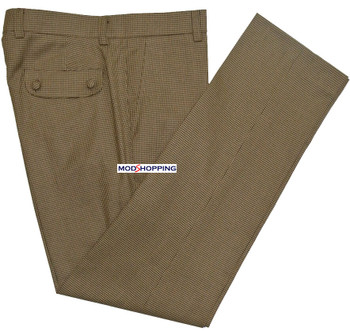mens trouser| tailore made retro classic brown dog-tooth trouser for men