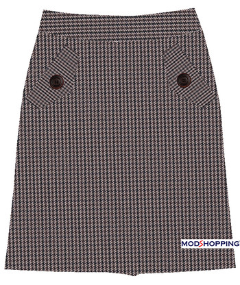 Brown Small Dogtooth 70'S Flap Skirt for Ladies