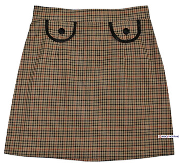 60'S Style Brown Checked Plaid Skirt